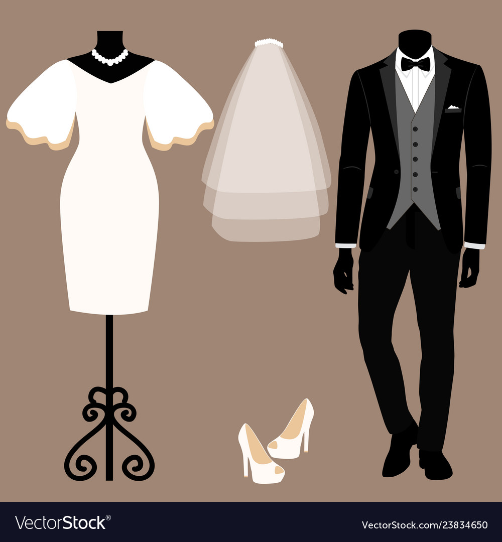 Wedding card with the clothes of the bride and