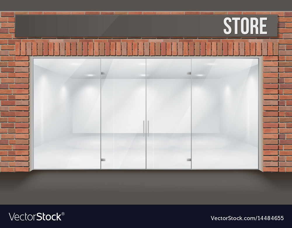 Brick Store Front With Big Window Vector Image