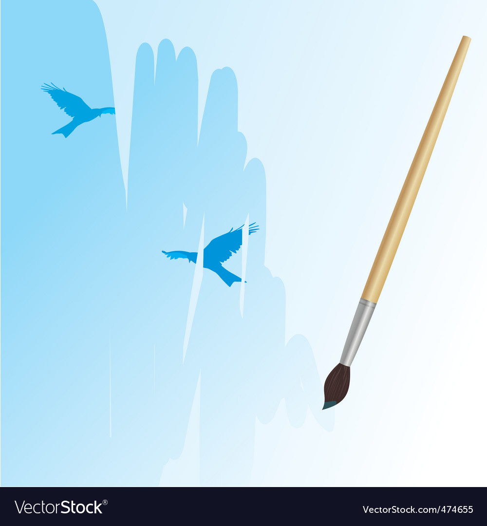 Brush drawing sky and birds vector image