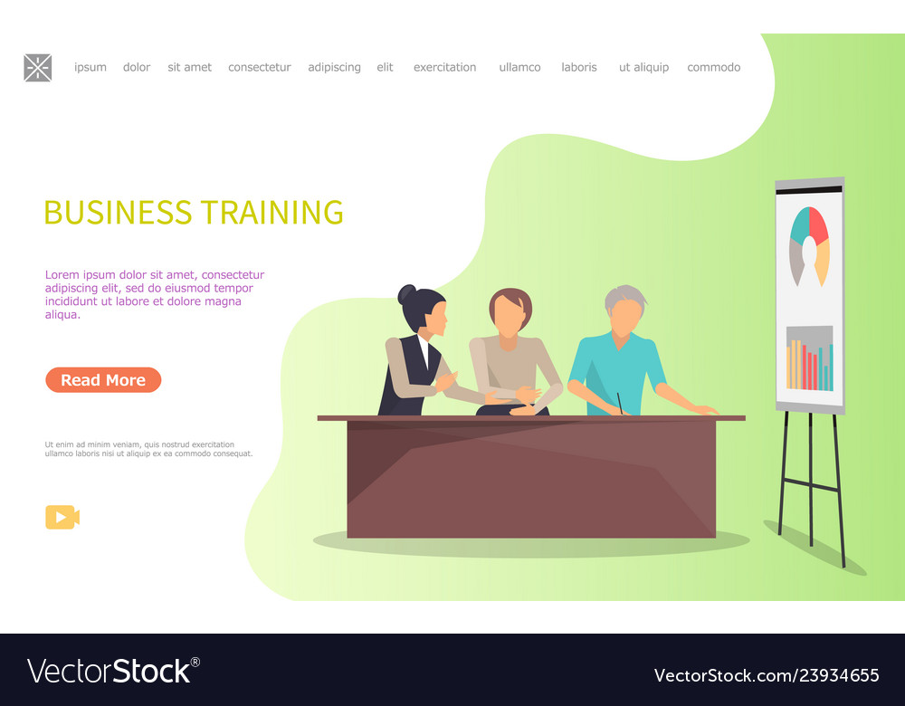 Business training of workers whiteboard and charts