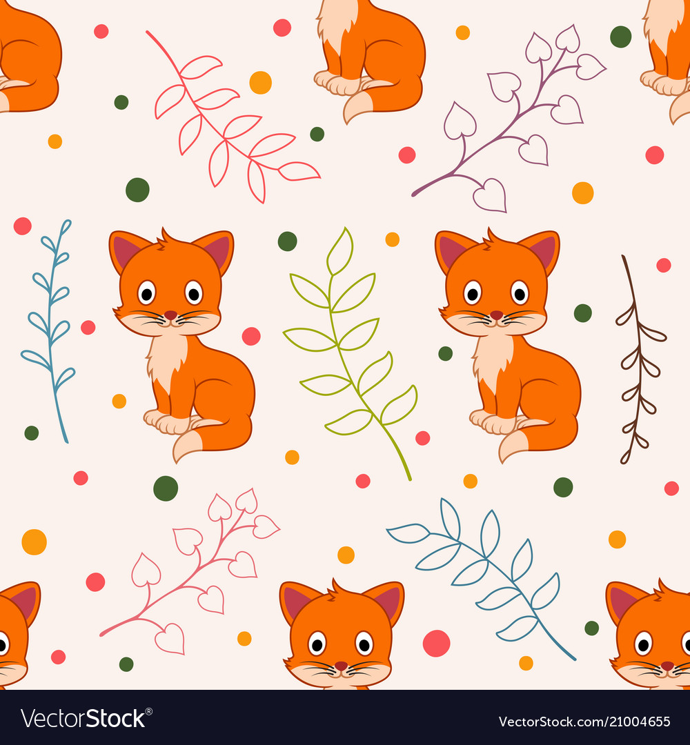 Cute seamless florals pattern with cat animals
