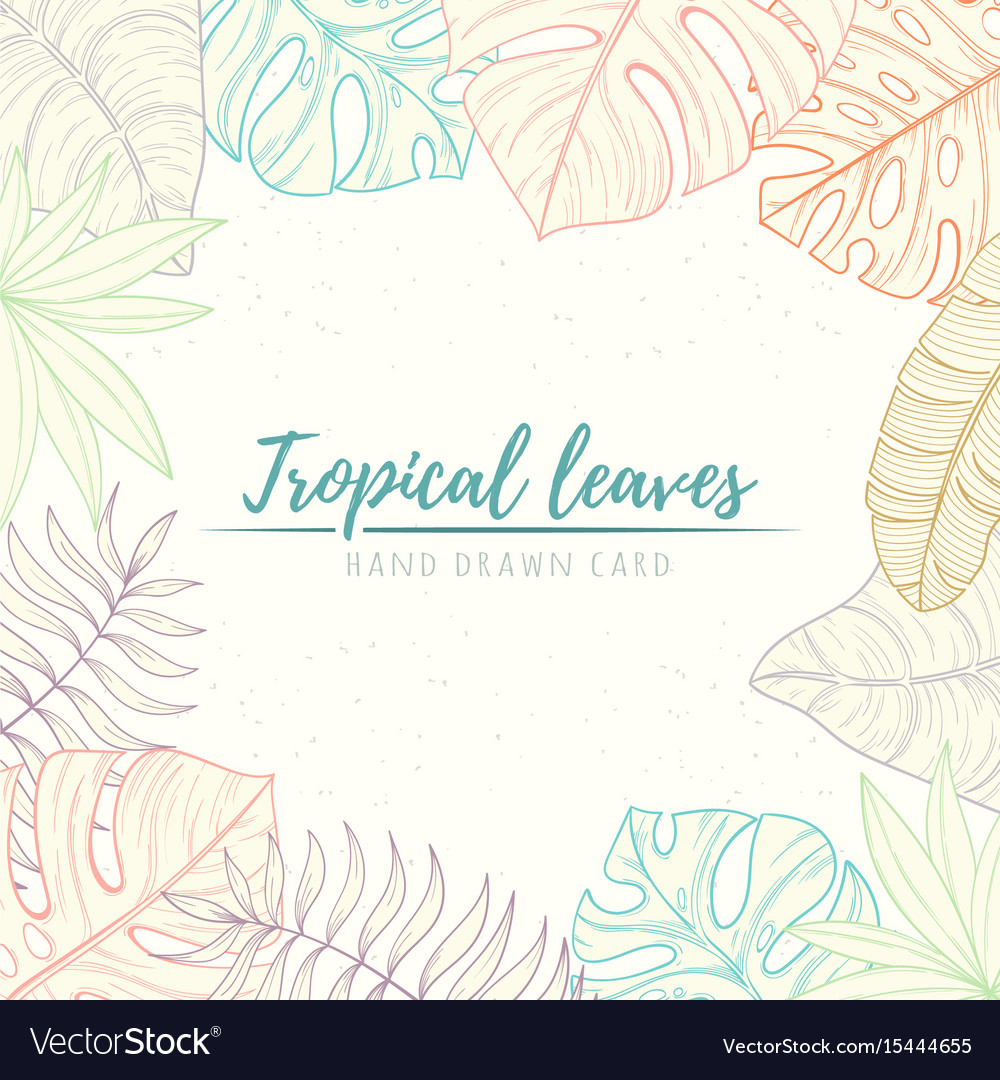 Hand drawn tropical palm leaves card