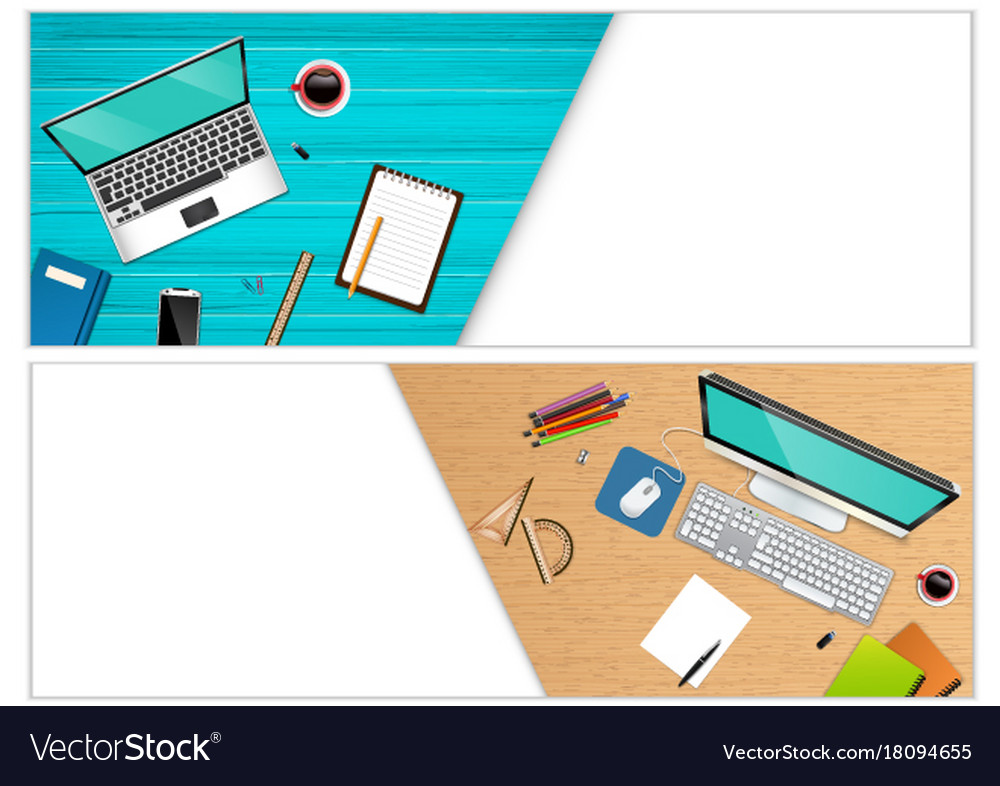 Horizontal banners of top view workplace office
