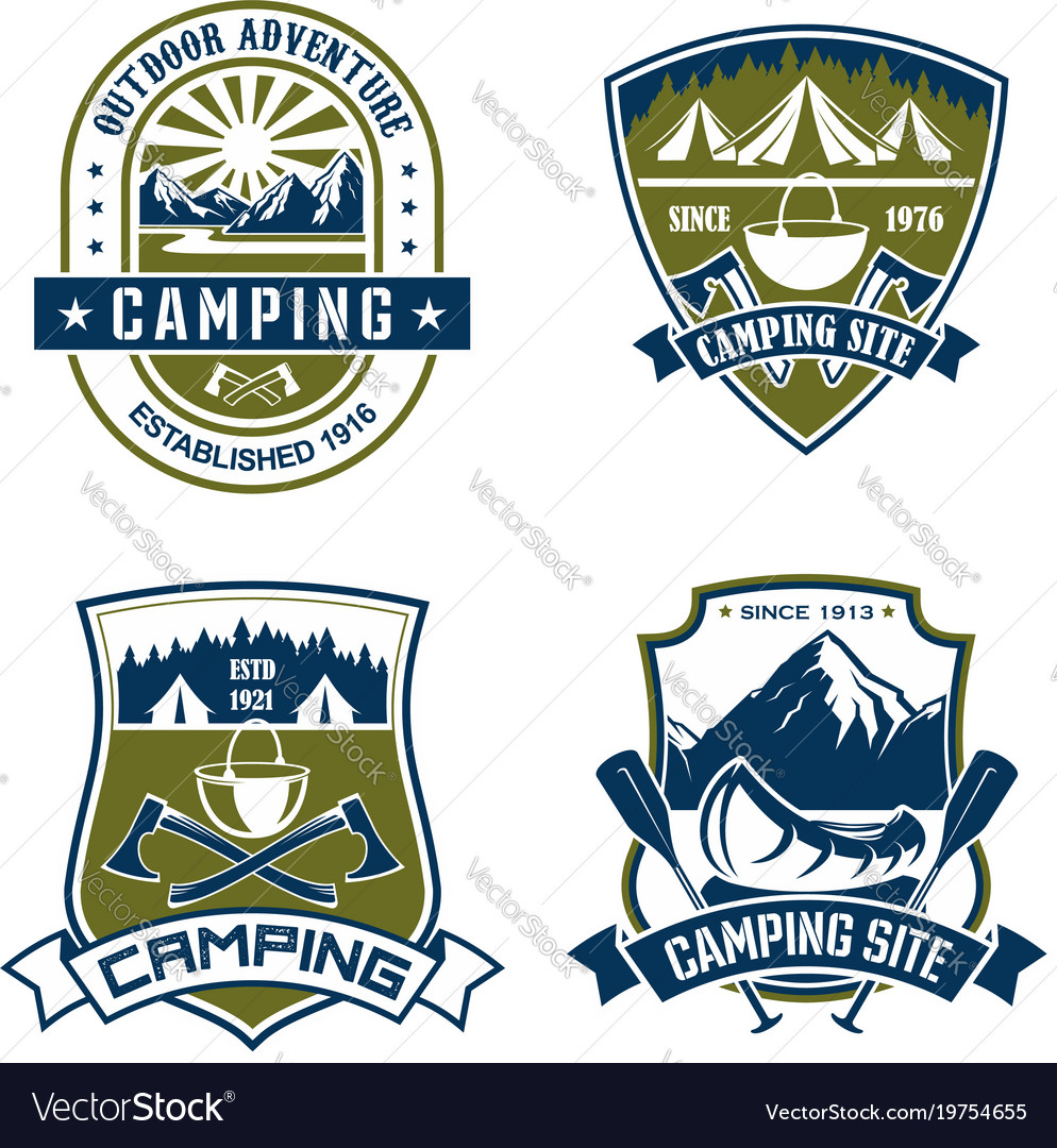 Icons for camping site mountain adventure