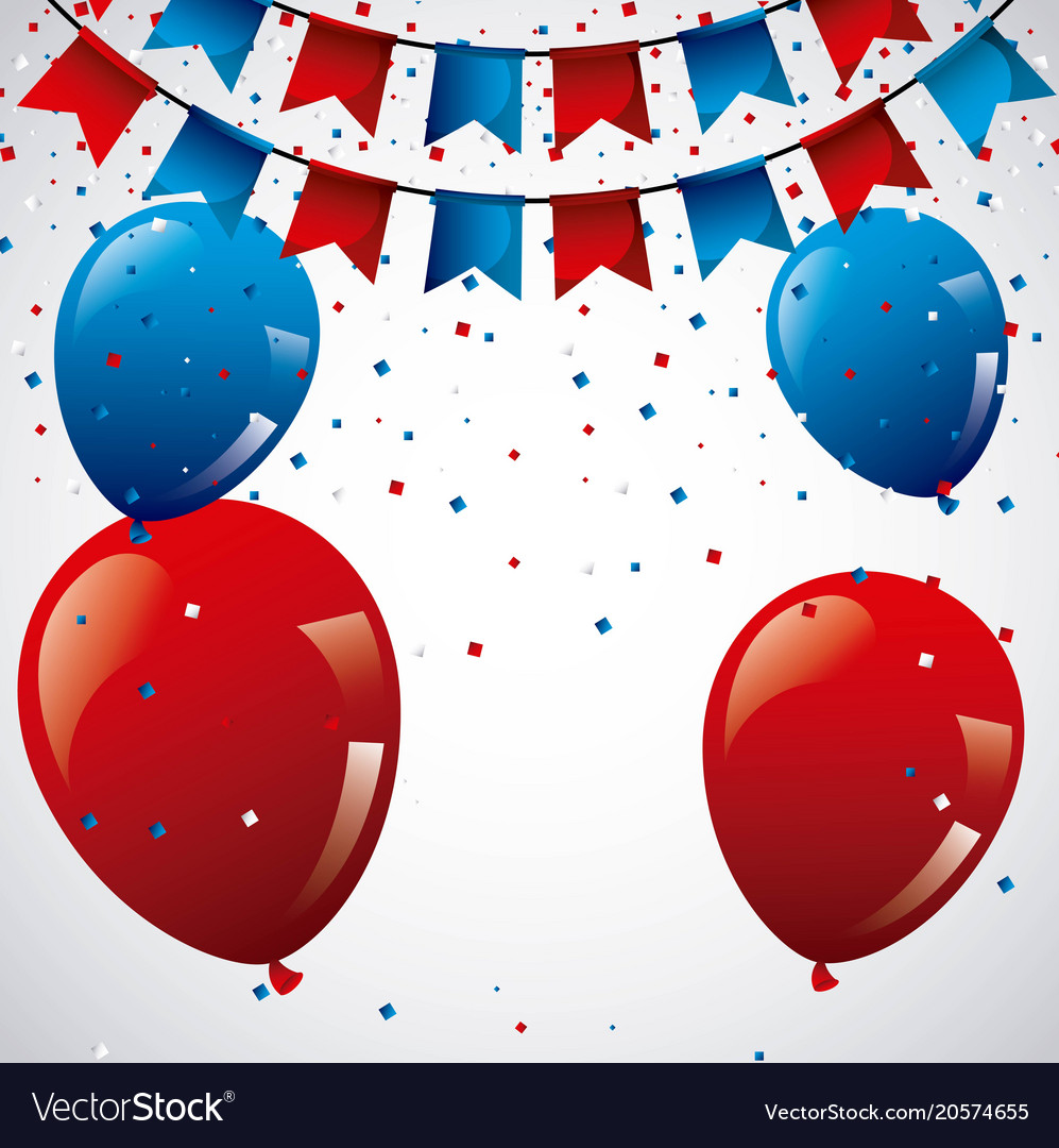 Red and blue balloons pennants confetti decoration vector image