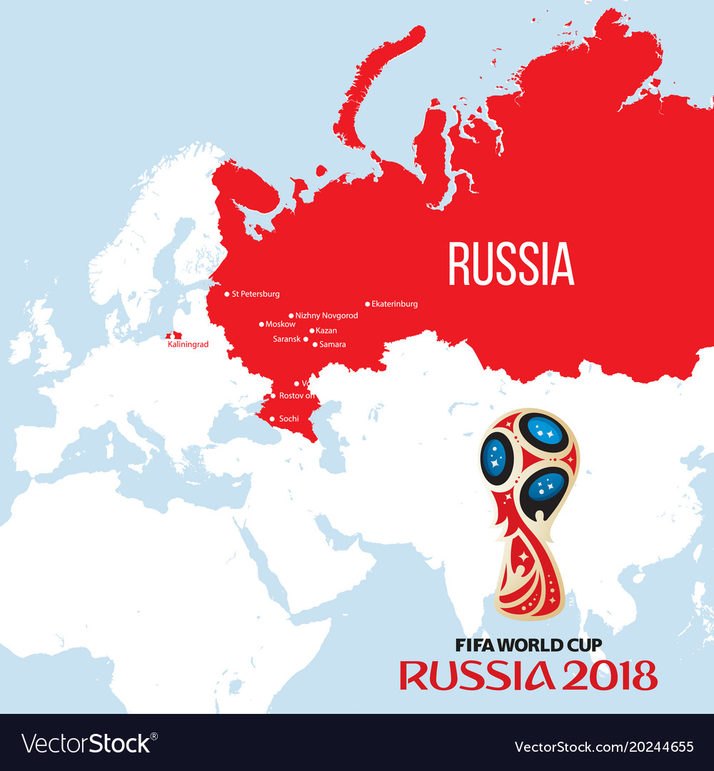 Russia world cup 2018 with map and Royalty Free Vector Image