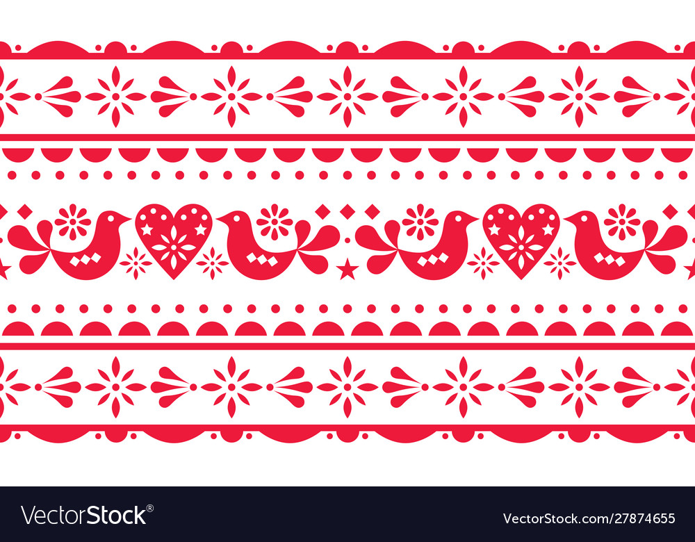 Scandinavian love valentines day seamless pattern