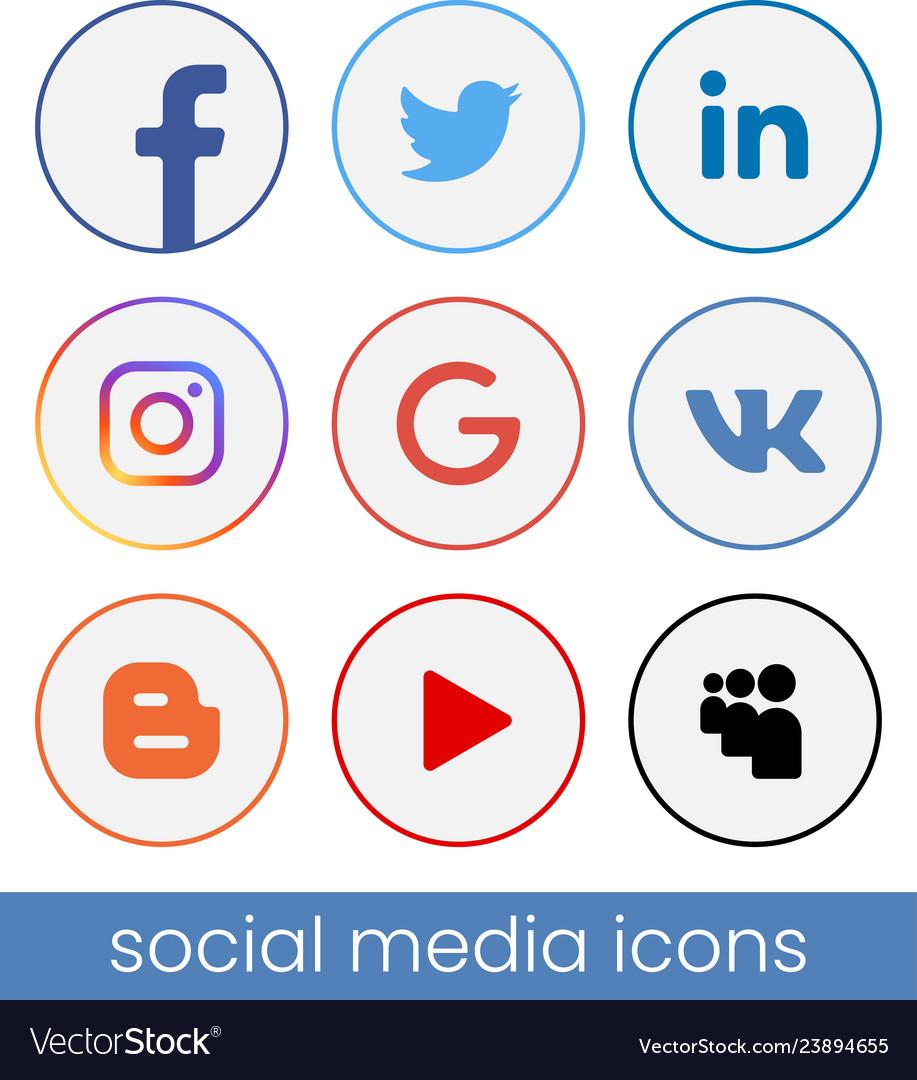 Set of circle popular social media logos