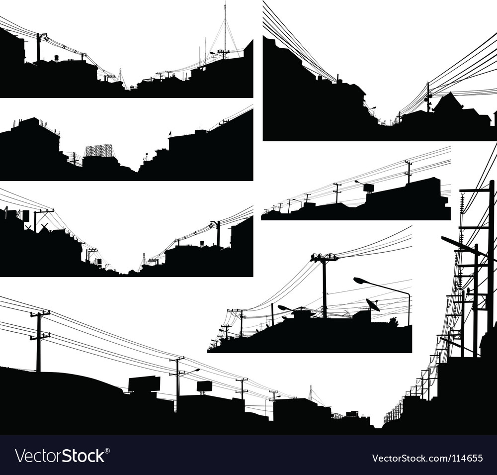 Urban foreground silhouettes vector image