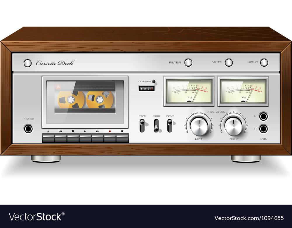 Vintage analog stereo cassette tape deck player
