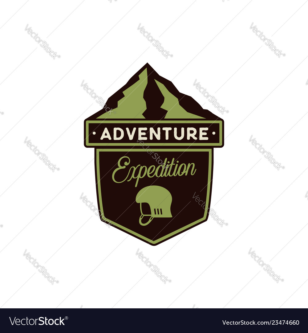 Adventure logo - expedition badge with mountains