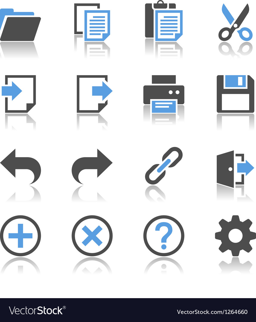 Application toolbar icons reflection