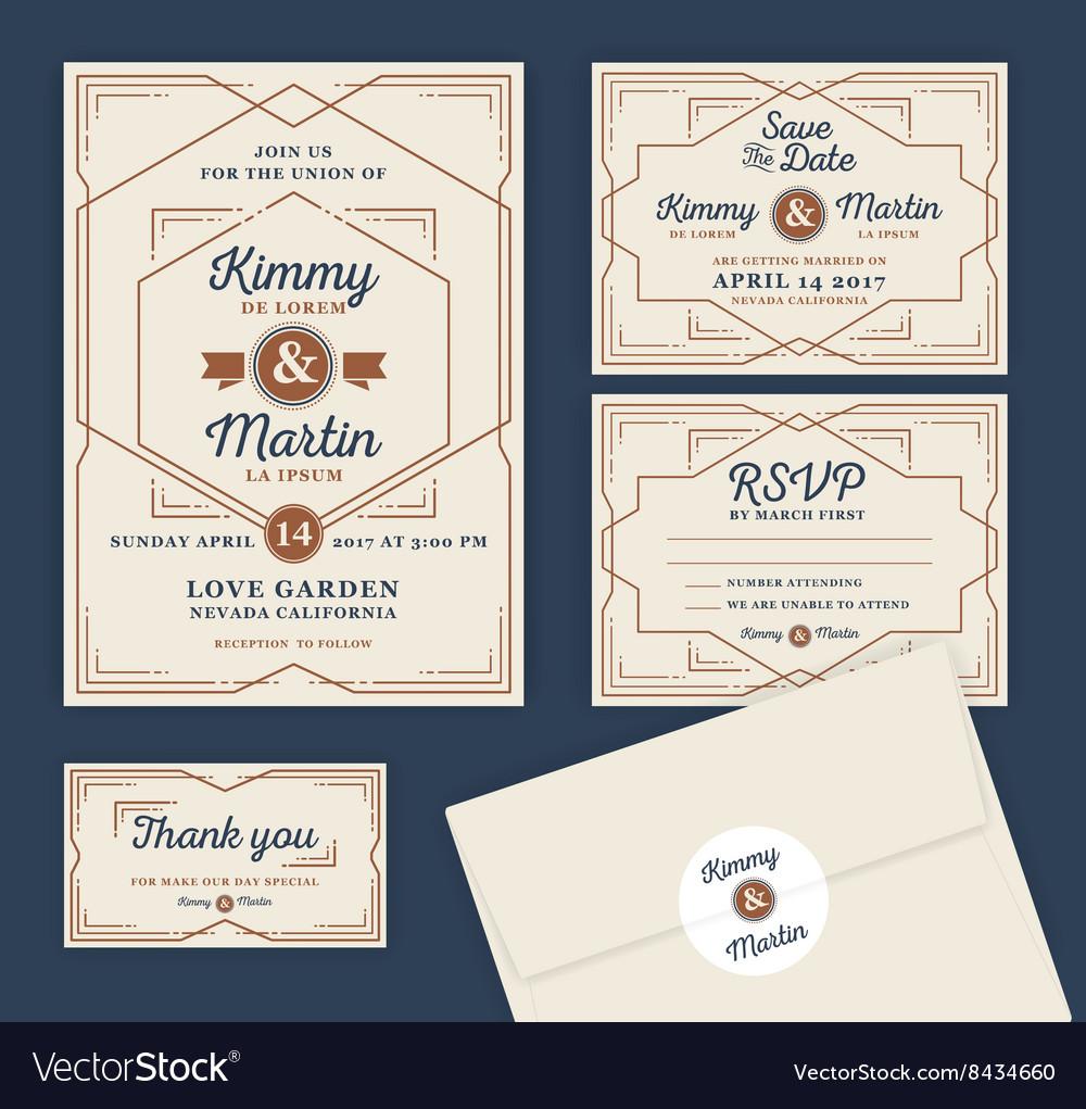Art Deco Letterpress Wedding Invitation Design