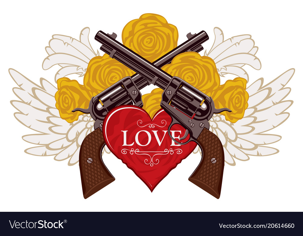 Banner on the theme of love and death with pistols