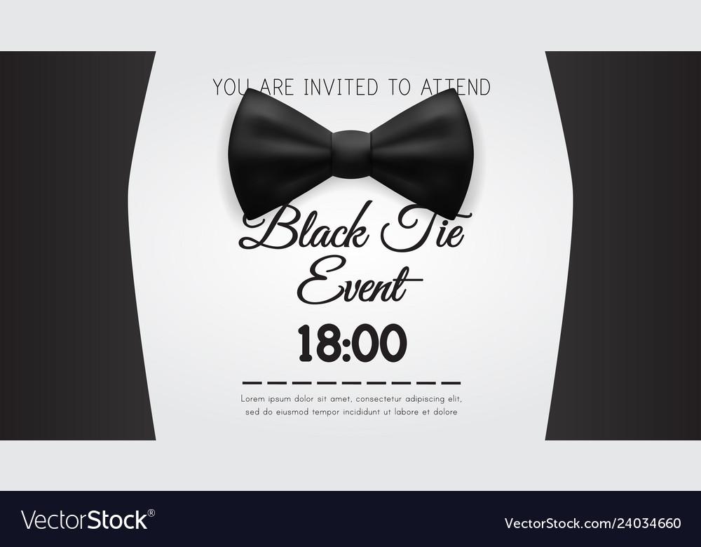 Business Card Elegant Black Tie Event Invitation