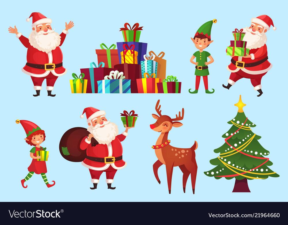Christmas Celebration Cartoon Images.Cartoon Christmas Characters Xmas Tree With Santa