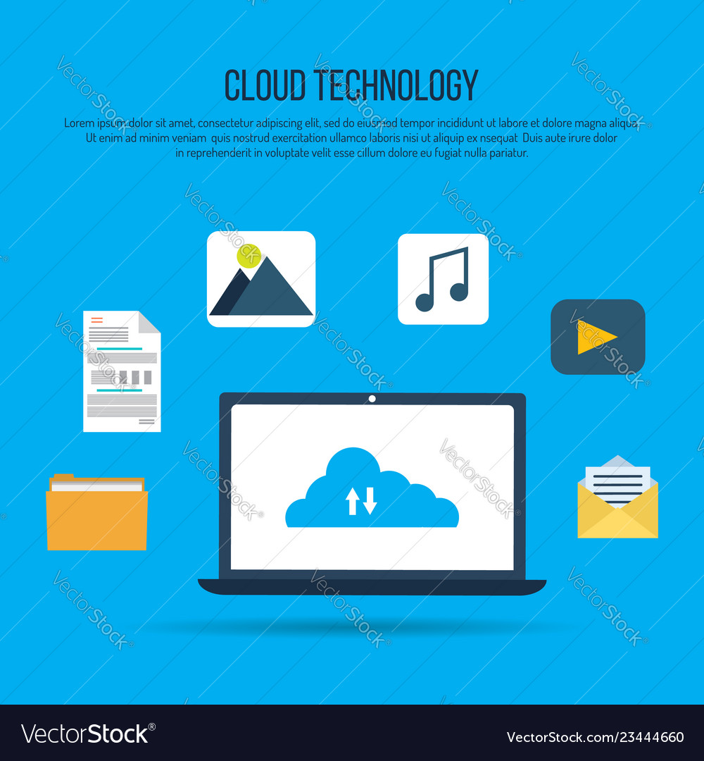 Cloud computing technology with laptop