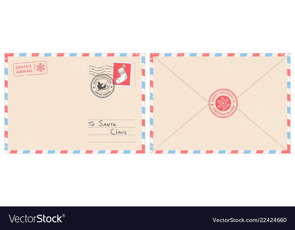 dear santa claus mail envelope christmas surprise vector image