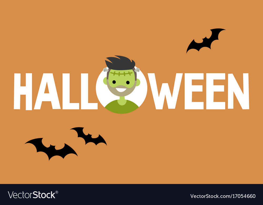 Halloween conceptual sign frankenstein and black