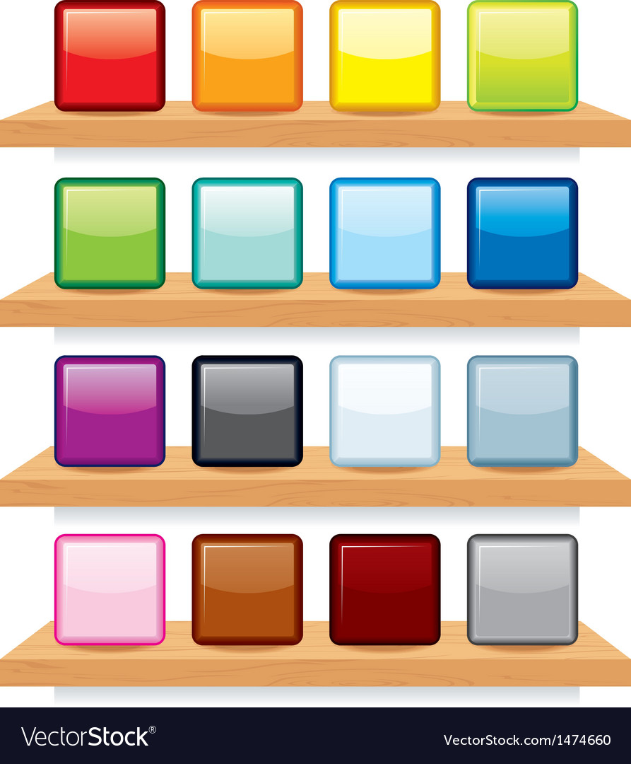 Icon on Wood Shelf Display Template Design