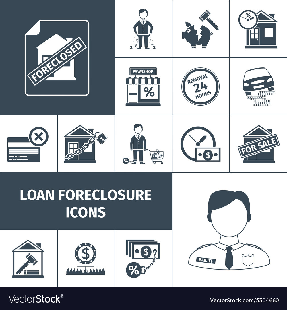 Loan Foreclosure Icons Black