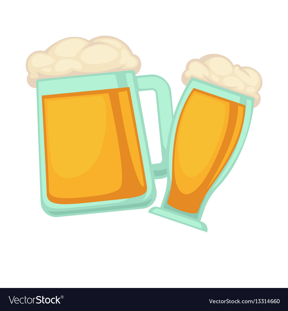 Man and woman glasses of beer with foam isolated