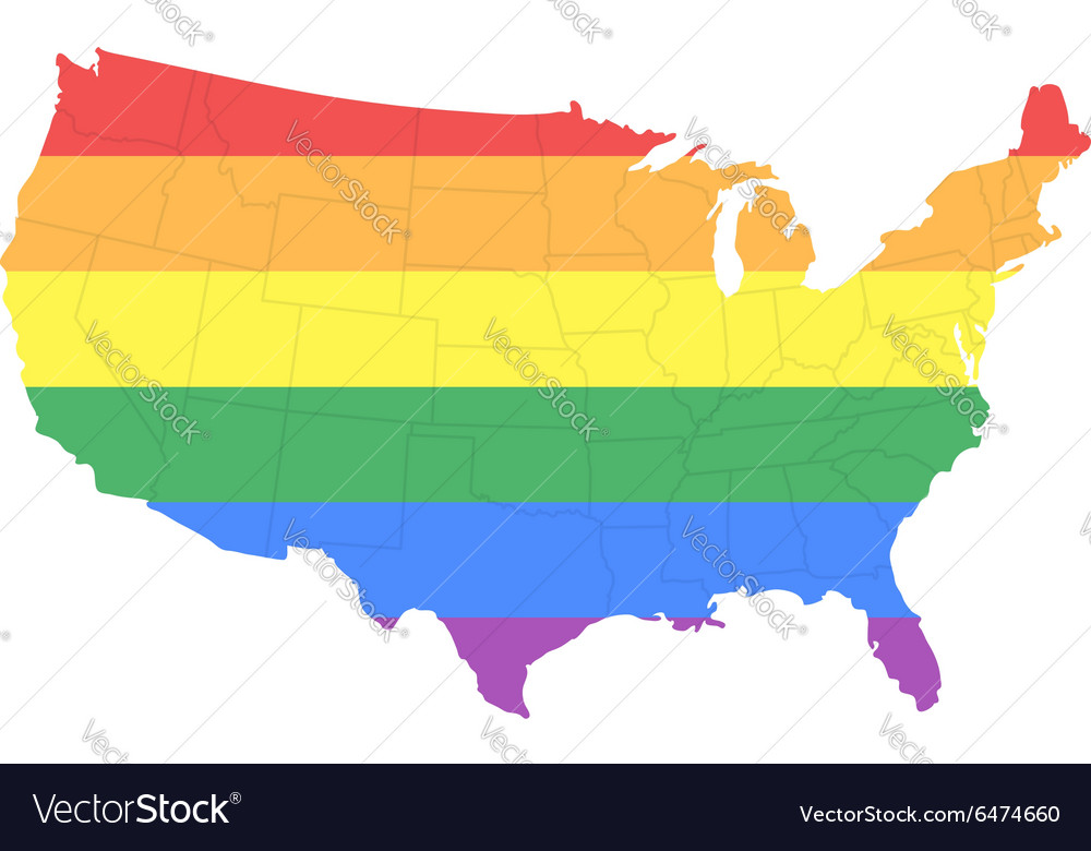 Map of The United States of America in LGBT Flag