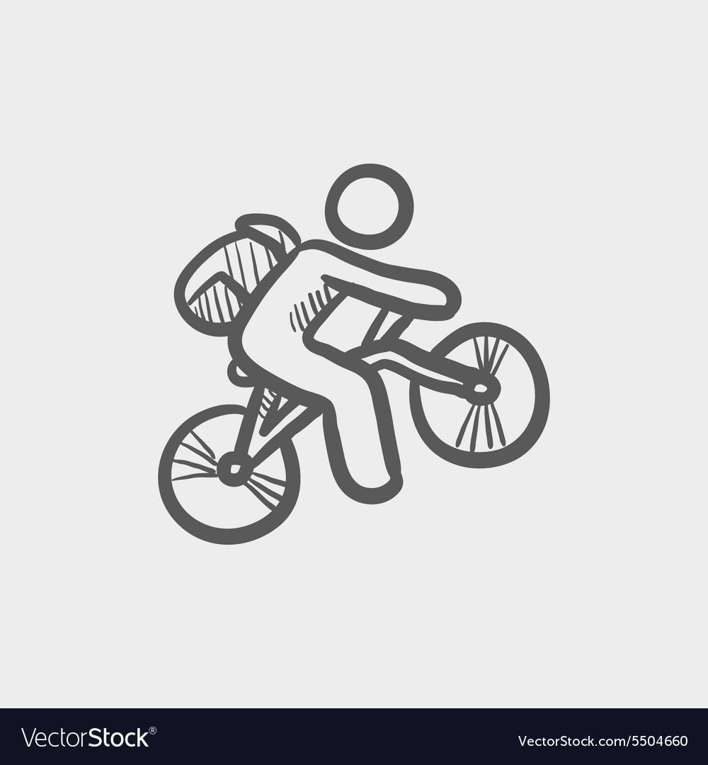 Mountain bike rider sketch icon