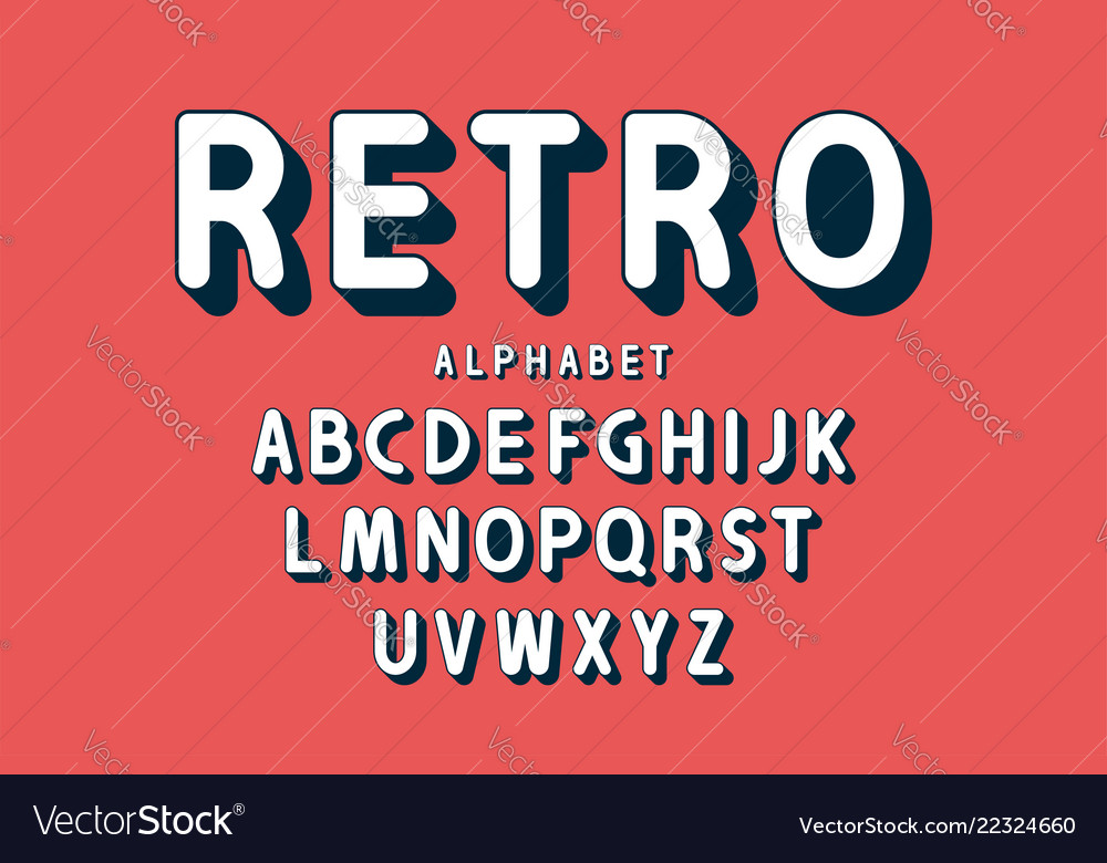 Retro bold font and alphabet rounded letters with