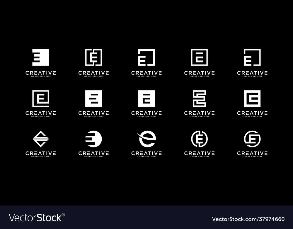 Set initial letter e logo design template