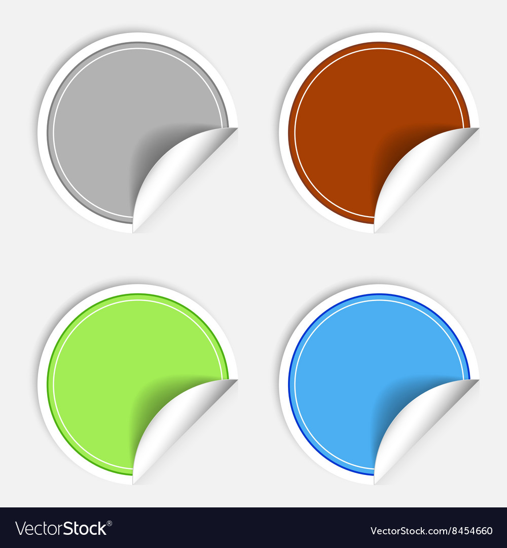 Set of colorful paper stickers on white background