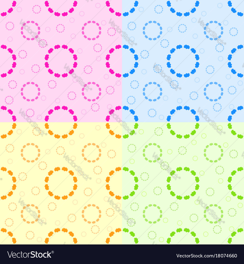 set of seamless patterns from abstract circles vector image