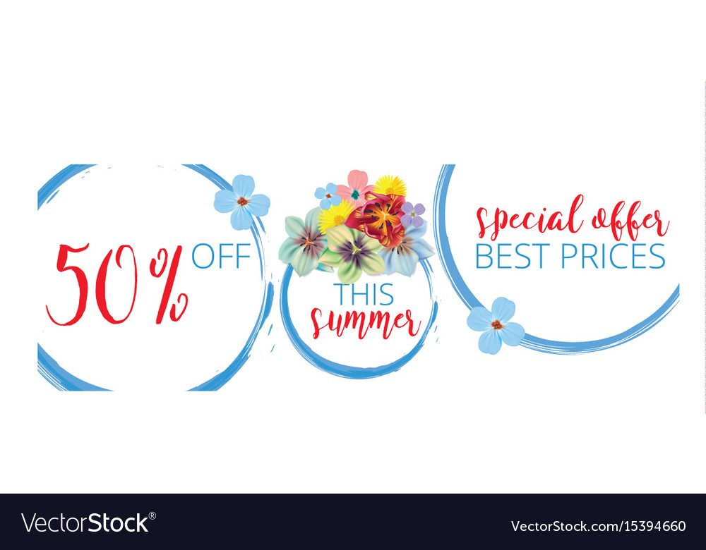 Summer sale floral banner with text on white