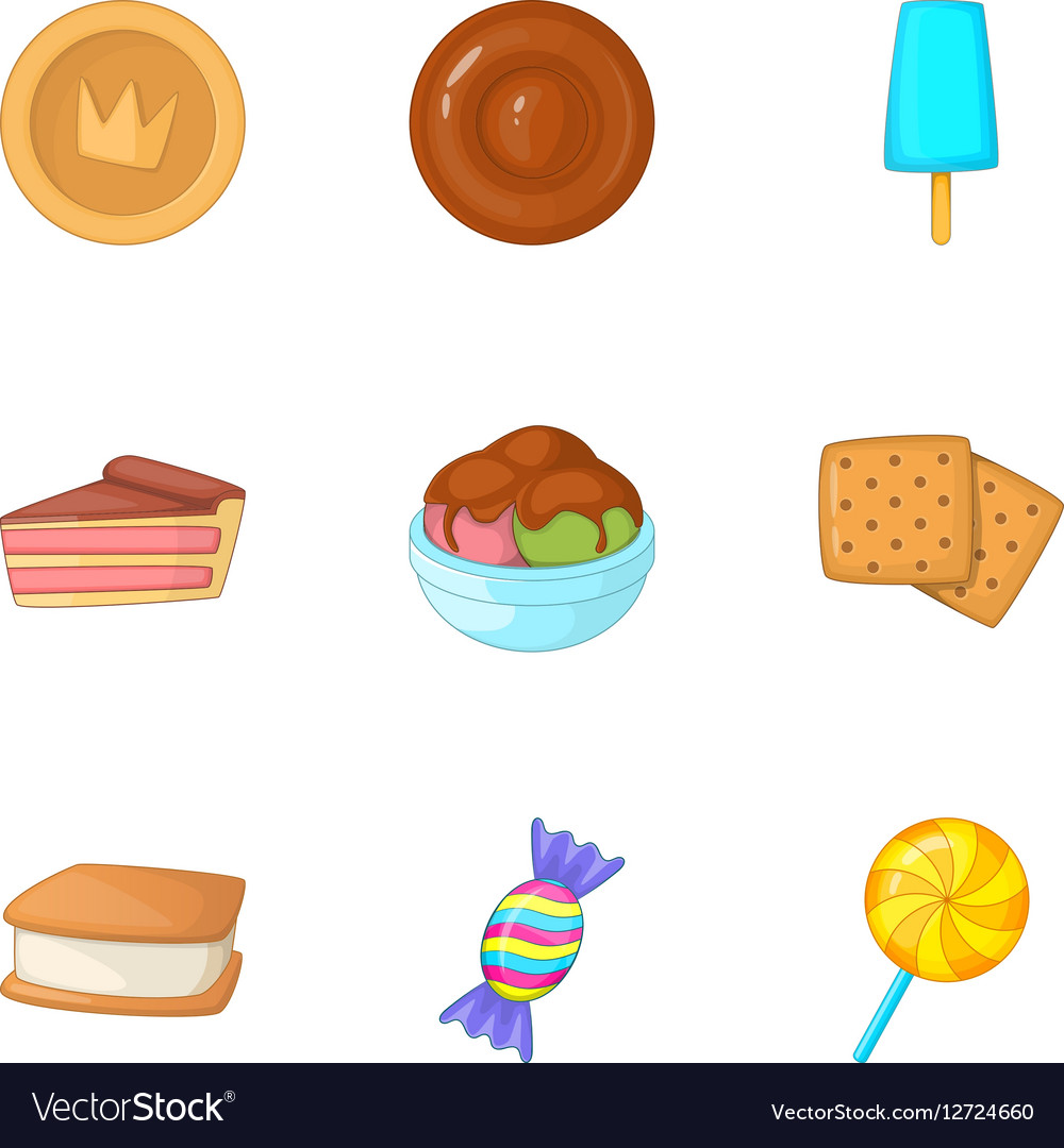Sweets icons set cartoon style