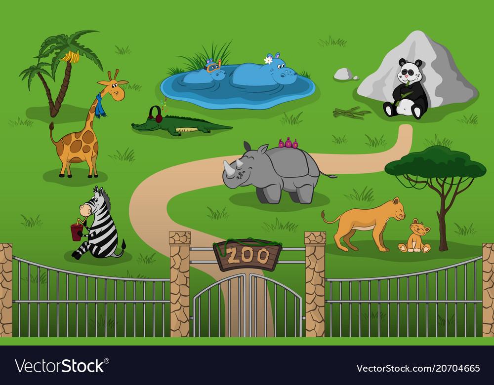 Animals of zoo in cartoon style