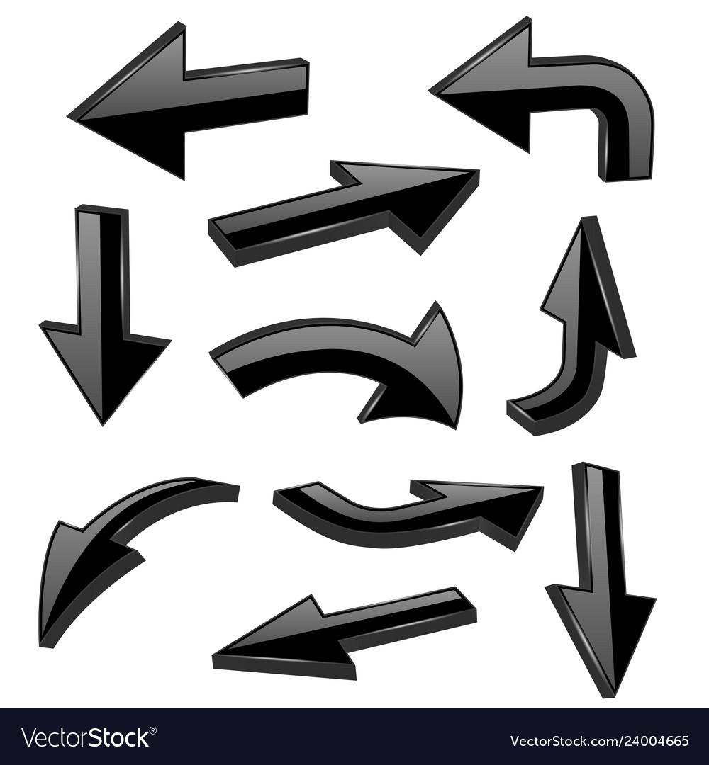 Black bold arrows 3d shiny signs