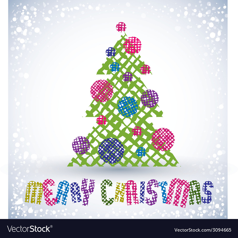 Christmas Greeting Card With Special Font And Hand