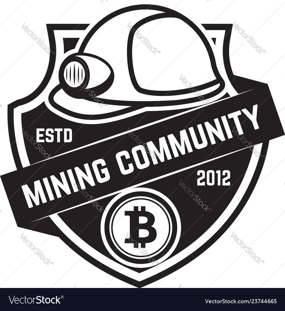 Cryptocurrency mining emblem isolated on white vector