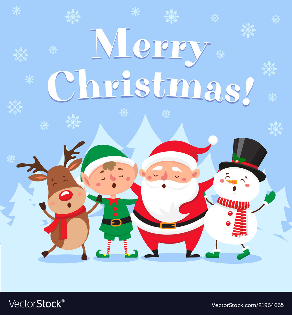 cute christmas greeting card singing santa claus vector image vectorstock