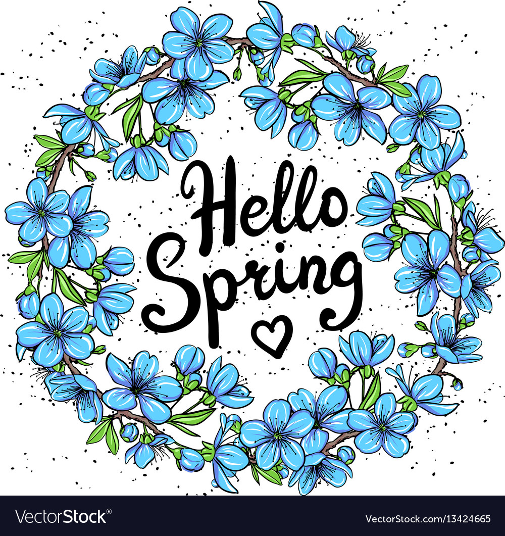 Hello spring greeting card vector image