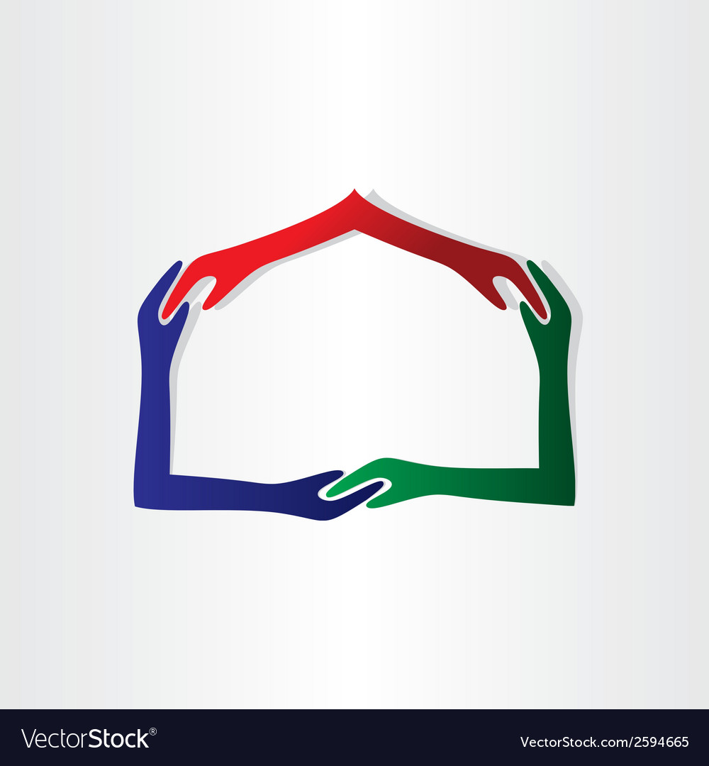 Human hands house friendship vector image