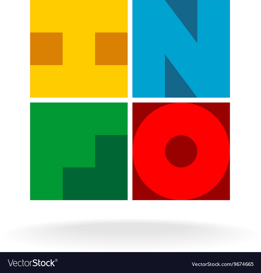 Info title logo Colorful INFO letters in a squares