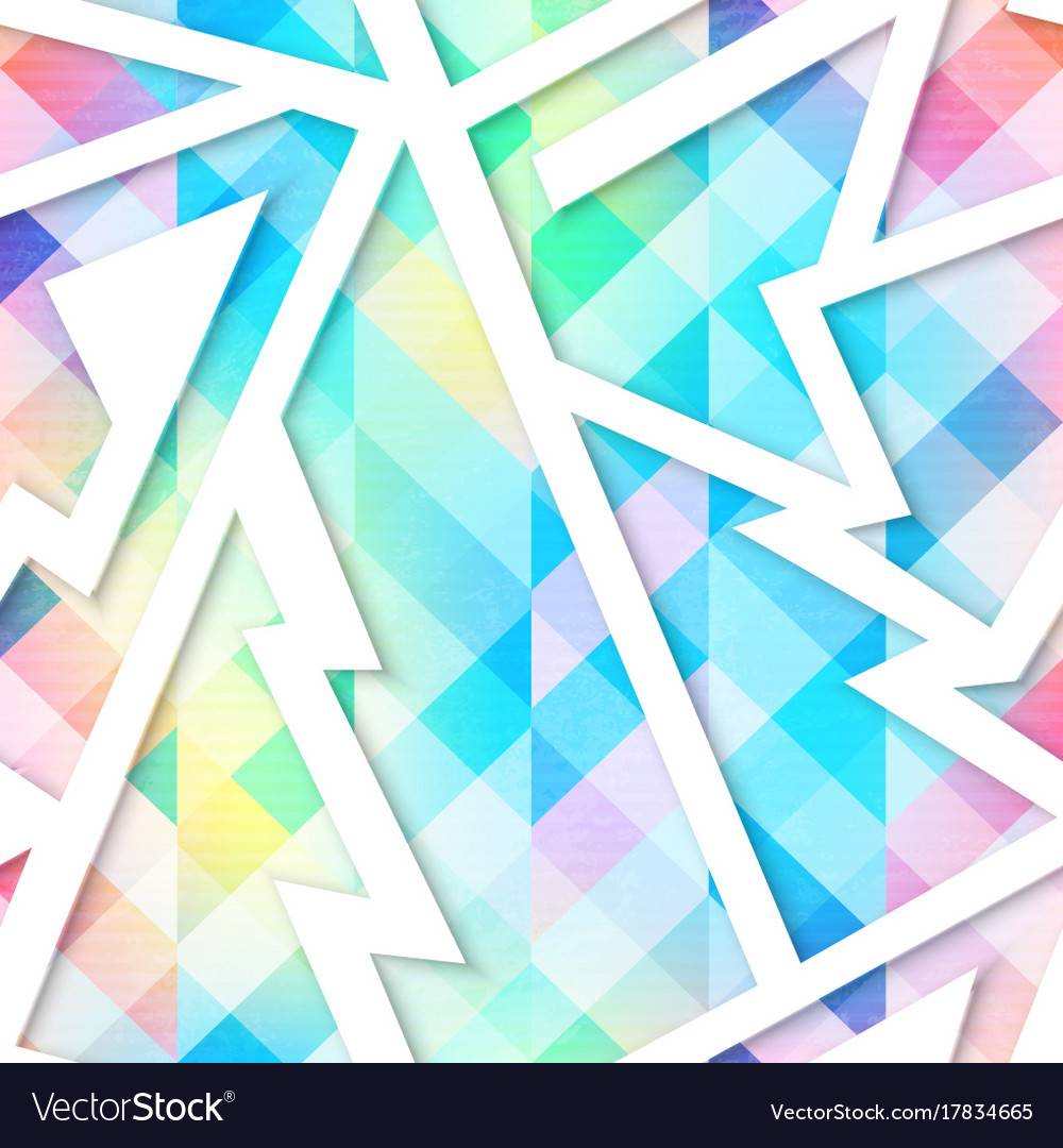 Isometric colored geometric seamless pattern