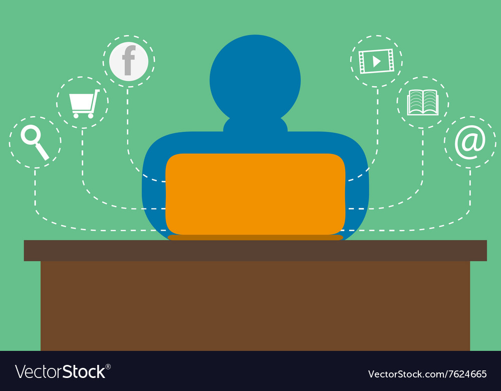 Man surf the Internet with laptop vector image