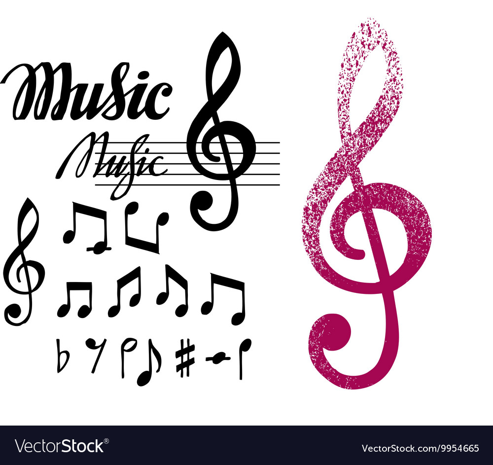 Notes and treble clef Set of music design