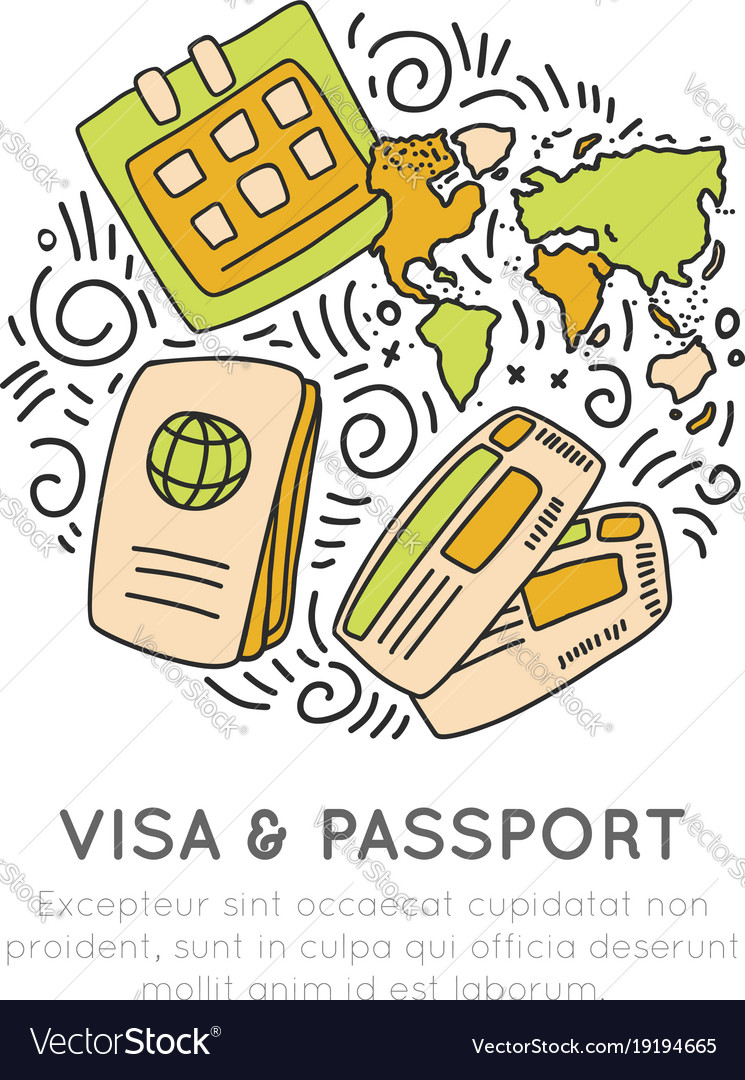 Visa and passport travelling icon set in hand draw