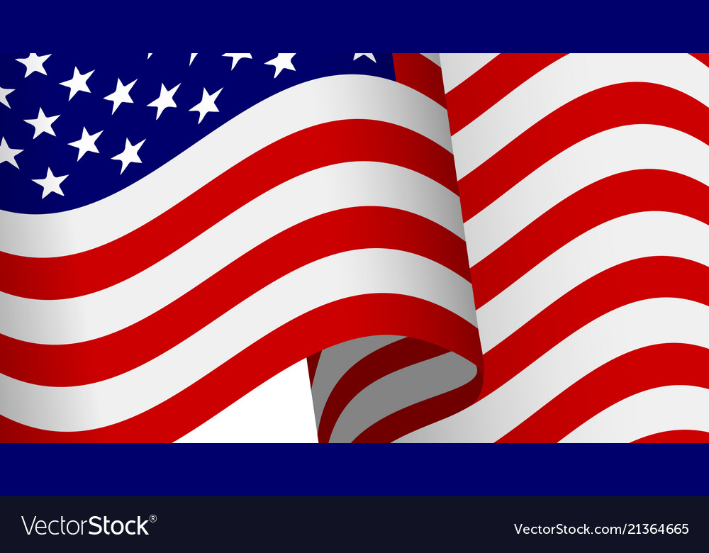 Waving 3d american flag with clipping mask