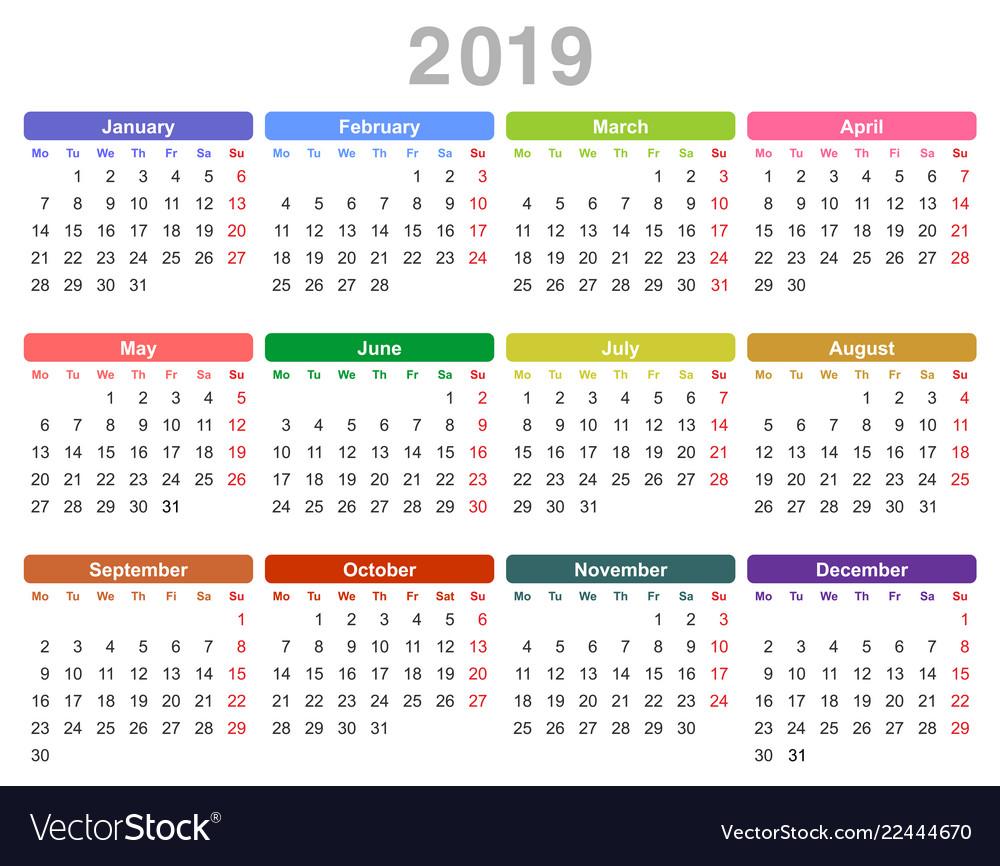 Annual Calendar 2019 2019 year annual calendar monday first english Vector Image