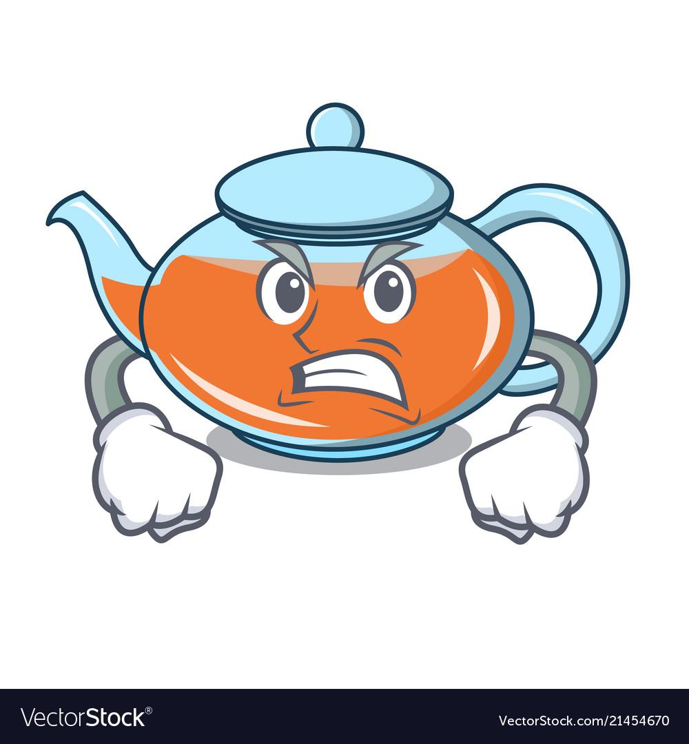 Angry Transparent Teapot Character Cartoon Vector Image
