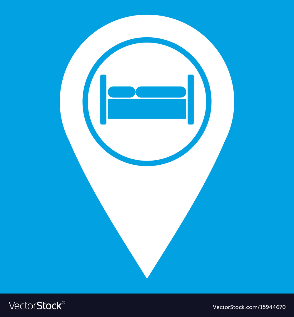 Bed hostel hotel sign icon white vector image